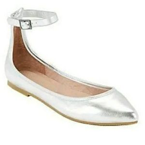 Joie Metallic Silver Leather Temple Ballet Flats